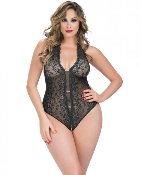Crotchless Lace Teddy Rhinestone Detail Black Qn
