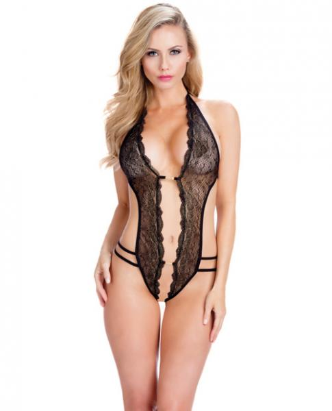 Crotchless Lace Teddy Rhinestone Detail Black O/S