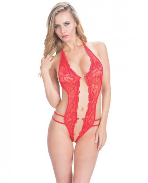 Crotchless Lace Teddy Rhinestone Detail Red O/S