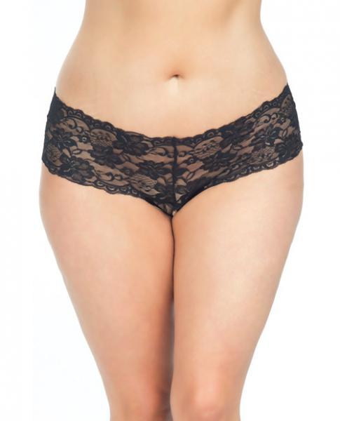 Goodnight Lace Crotchless Boyshorts Elastic Detail Black 1X/2X