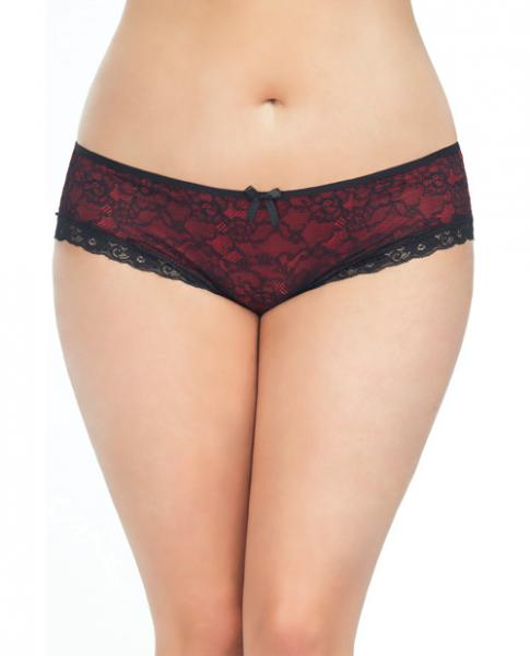 Cage Back Lace Panty Black Red 1X/2X