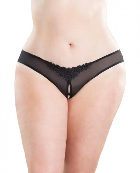 Crotchless Thong with Pearls Black 1X/2X