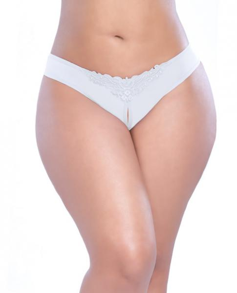 Crotchless Thong with Pearls White 1X/2X