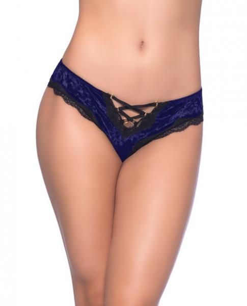 Amalie Crushed Velvet Tanga Panty Lace-Up Detail Blue, Black 1X