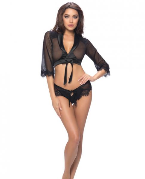 Cropped Wrap Robe, Lap Shorts Satin Ties & Lace Detail Black L/XL