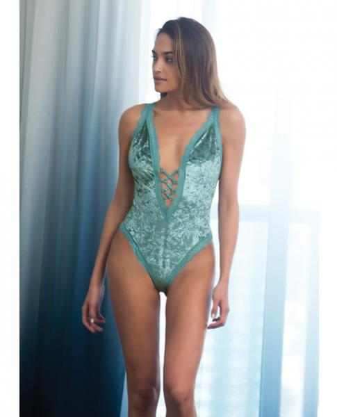 Amalie Velvet Lace-Up Plunge Neckline Teddy Dusty Turquoise Lg