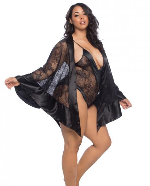 Roxanne Lace Handkerchief Robe Wide Satin Edges Black Qn