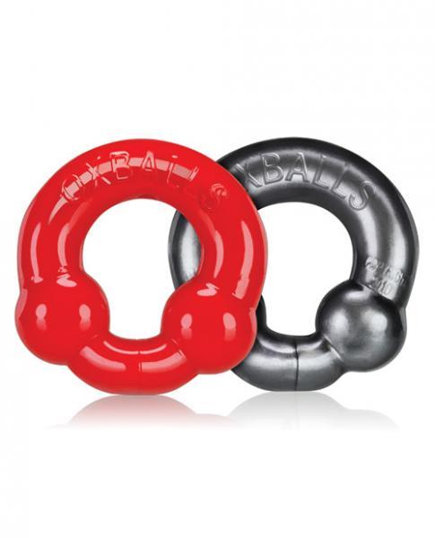 Oxballs Ultraballs Cock Ring Silver & Red Set