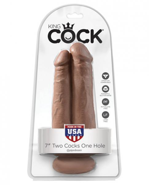 King Cock 7 inches Two Cocks One Hole Dildo Tan