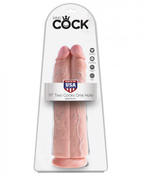 King Cock 11 inches Two Cocks One Hole Beige Dildo