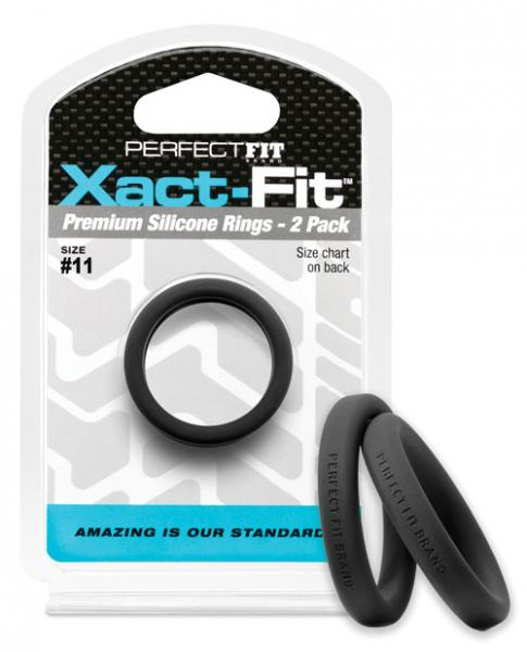 Perfect Fit Xact-Fit #11 Black 2 Pack Cock Rings