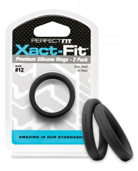 Perfect Fit Xact Fit #12 Black Pack Of 2 Cock Rings