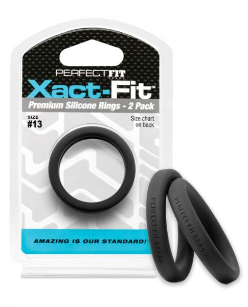 Perfect Fit Xact Fit #13 Black Pack Of 2 Cock Rings