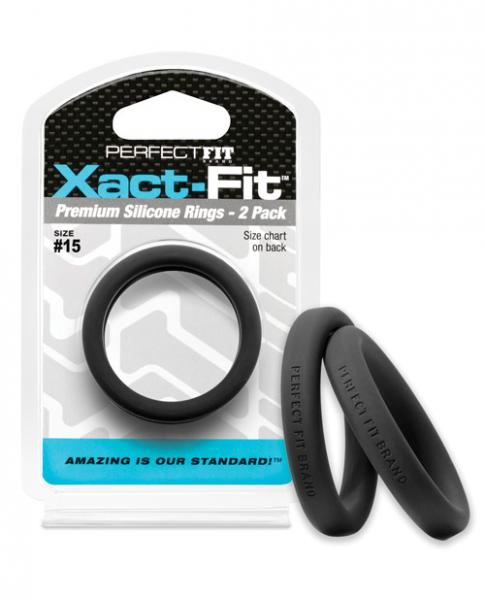 Perfect Fit Xact-Fit #15 Black Pack Of 2 Cock Rings