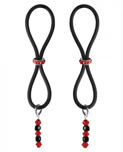 Bijoux De Nip Nipple Halos Red Gem Slider Red Black