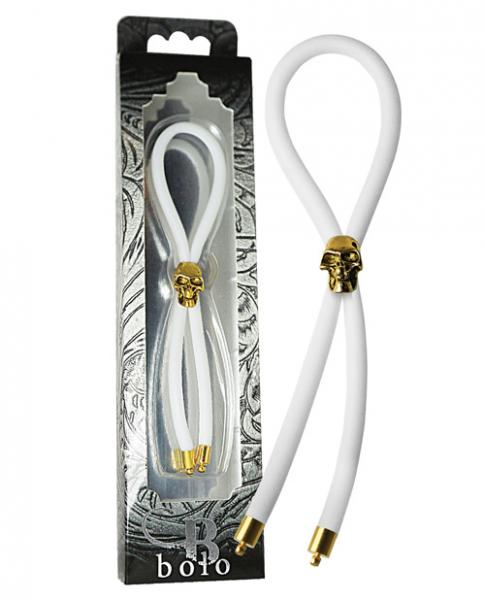 Bolo Silicone Lasso, Gold Skull Slider with Gold Tips White