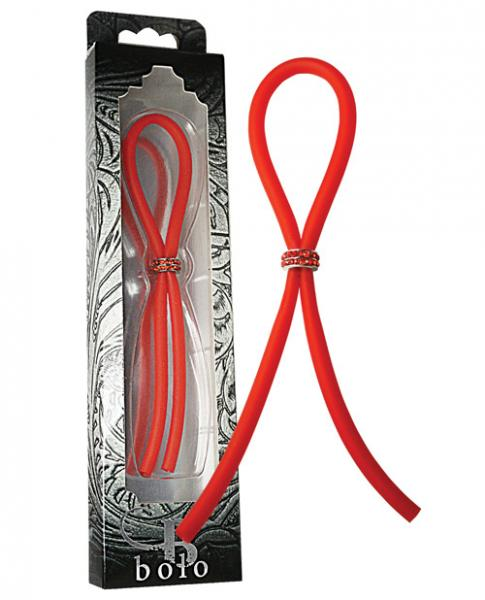 Bolo Silicone Band Lasso with Red Gems Red