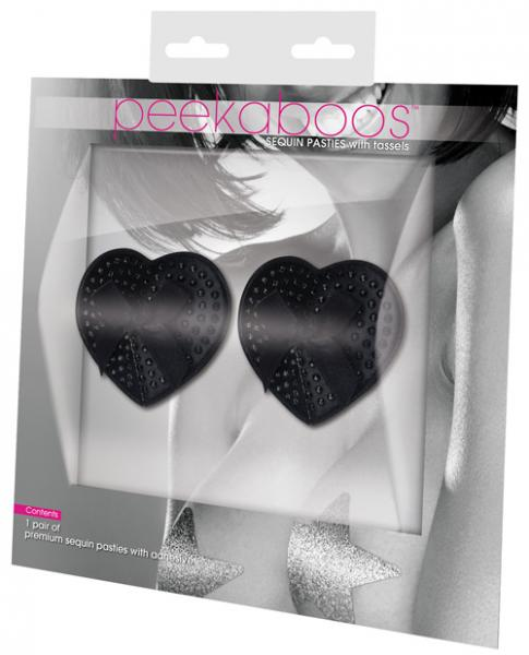 Satin Black Sequin & Bow Premium Pasties Black 1 Pair