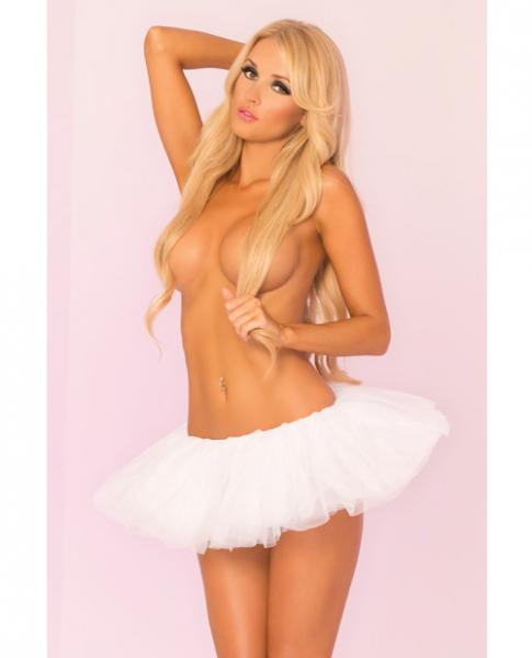 Pink Lipstick Tutu Skirt White O/S