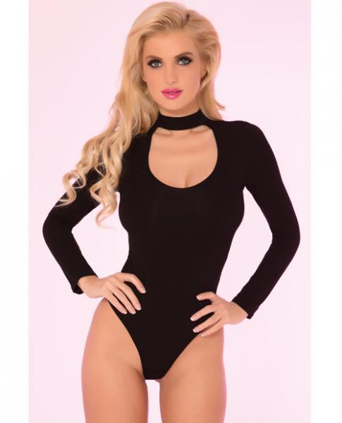 Pink Lipstick Choker Plunge Bodysuit Black M/L