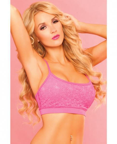 Pink Lipstick Sweat Lacy Sports Bra W/secret Pocket & Removable Pads Pink Sm
