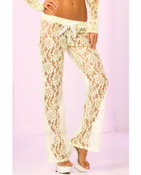 Loungwear Lace Lounge Pants - Green Small