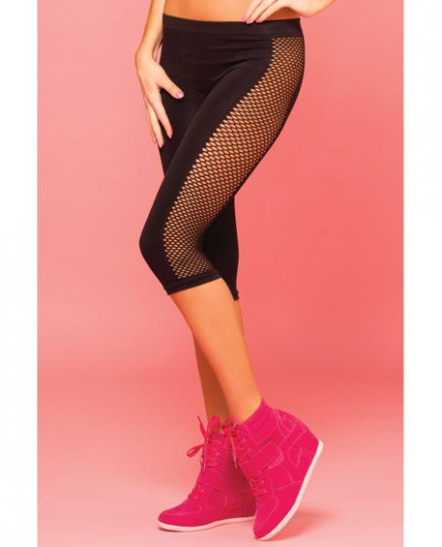 Pink Lipstick Sweat Side Net  Stretch Crop Pant For Support & Compression Black M/l