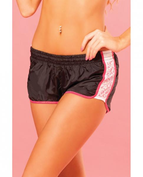 Pink Lipstick Sweat Sequin Running Short W/built In Panty & Draw String Closure Black Lg