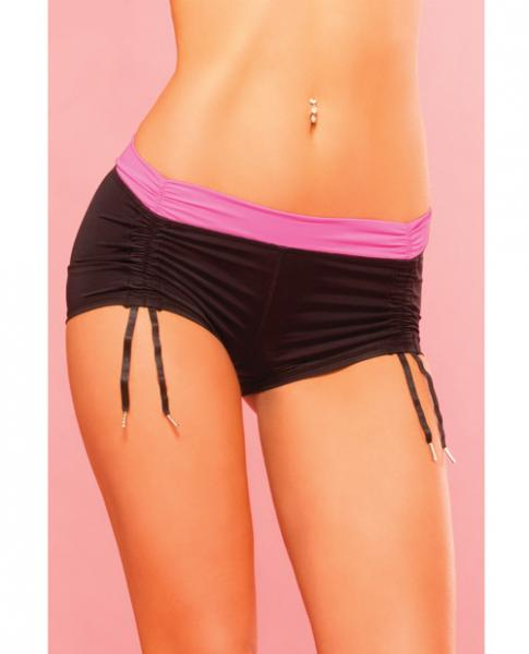 Pink Lipstick Sweat Fitness Cinchable Hot Short Black Sm