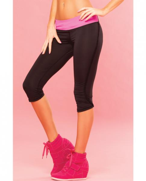 Pink Lipstick Sweat Fitness Pant Ruffle Fringe Side W/secret Pocket Black Lg