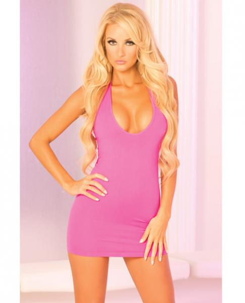 Two Way Slashed Halter Dress Pink S/M