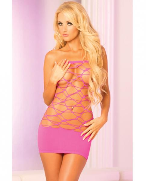 Web Of Seduction Tube Dress Pink O/S