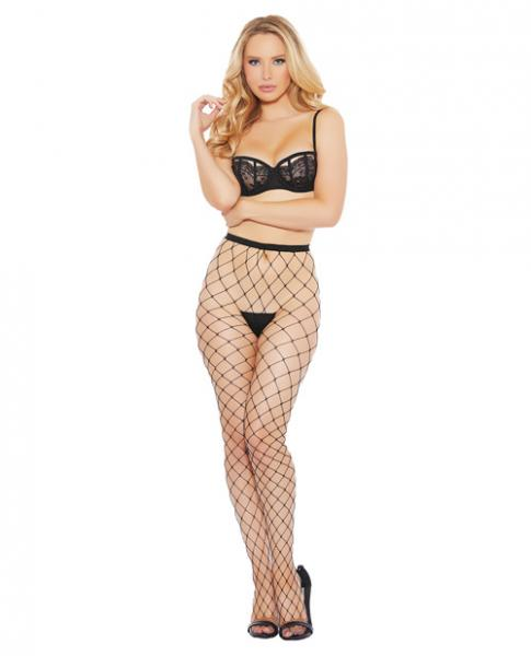 Fence Net Pantyhose with Rhinestones Black O/S