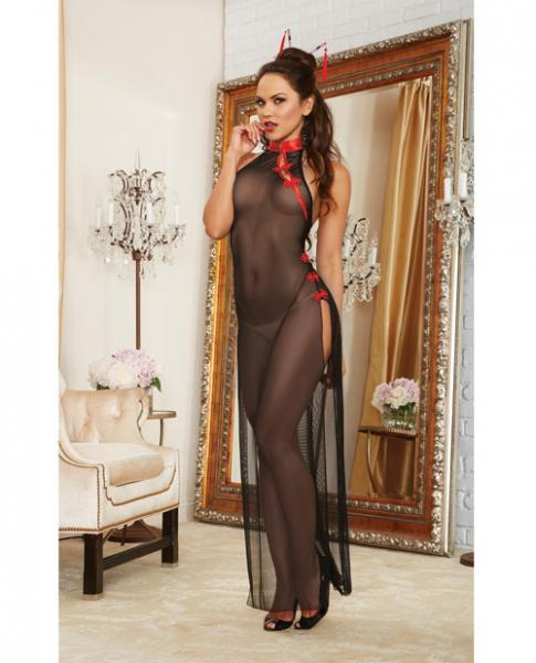 Mesh Halter High Slit Gown & Hair Chopsticks Black/Red O/S