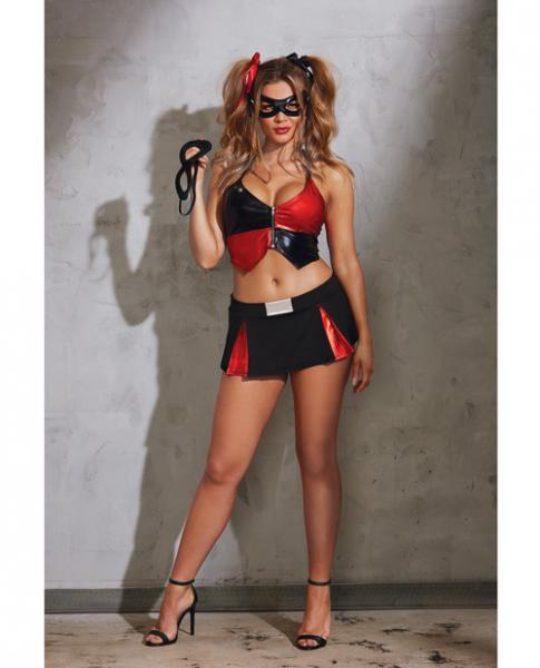 6 Piece Halter Top, Skirt, Masks & Hair Ribbons Black Red OS