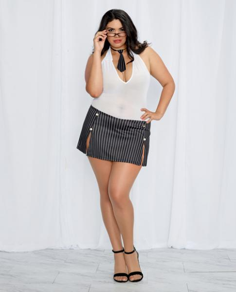 Chemise, Pinstriped Skirt, Tie & Glasses Black White Qn