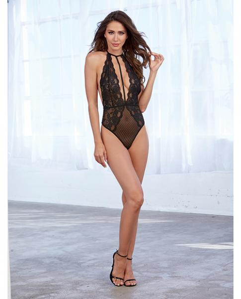Stretch Lace & Patterned Mesh Teddy Black O/S