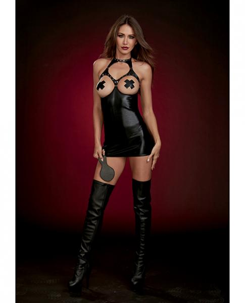 Fetish Faux Leather Boob Out Chemise & Paddle Black O/S