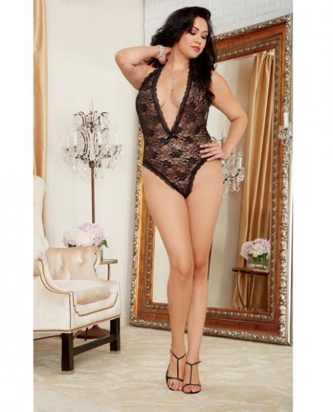 Halter Lace Teddy Plunging Neckline & Heart Cut Out Back Black Qn