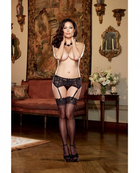 Stretch Lace Garter Belt W/scalloped Hem Black Qn
