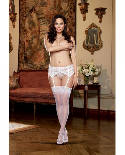 Stretch Lace Garter Belt W/scalloped Hem White Qn