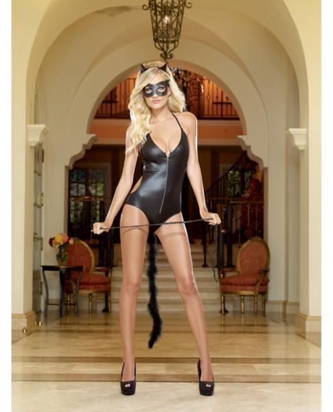 4pc Halter Romper,Cat Ears,Mask,Whip - O/S