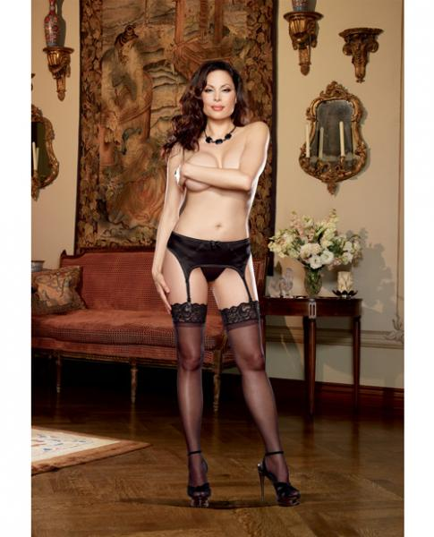 Satin Front Garter Belt & Mesh Back & Adjustable Garter Straps Black Qn