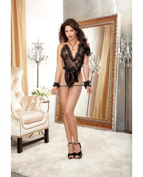 Stretch Lace Halter Teddy Tie & Restraints Black O/S