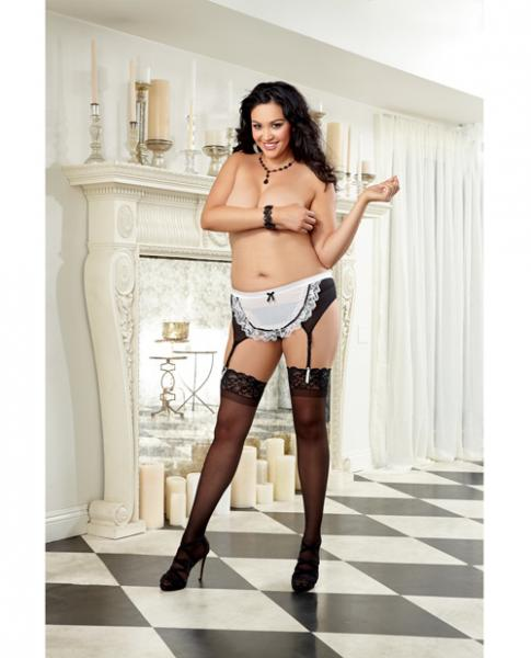Maid For You Mesh Garter Belt Black White Queen