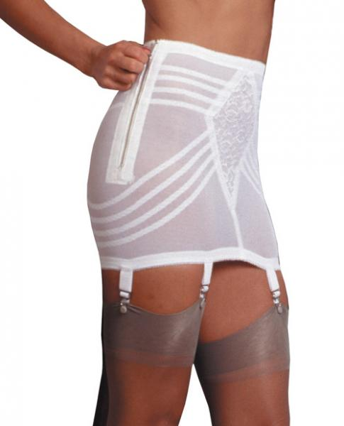 Zippered Open Bottom Girdle White Large