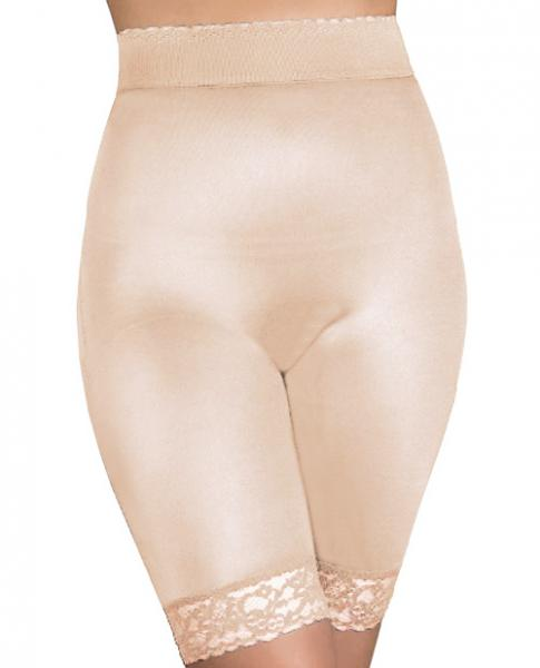Rago Shapewear Long Leg Shaper Gripper Lace Bottom Beige Lg