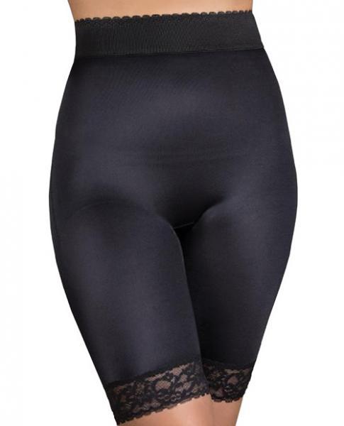 Rago Shapewear Long Leg Shaper Gripper Lace Bottom Black 8X