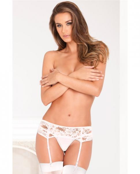 Rene Rofe Lace Garter Belt White M/L