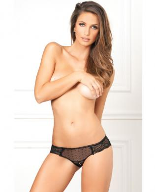 Rene Rofe Crotchless Lace N Dots Panty Black S/M